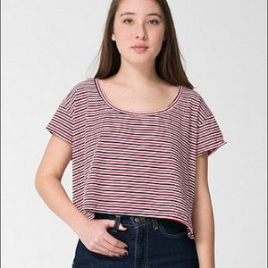 American Apparel green striped crop top